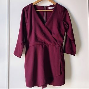 Abercrombie & Fitch burgundy wrap shortie romper